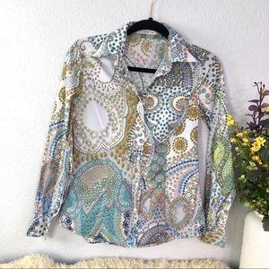 etro floral paisley print cotton button down